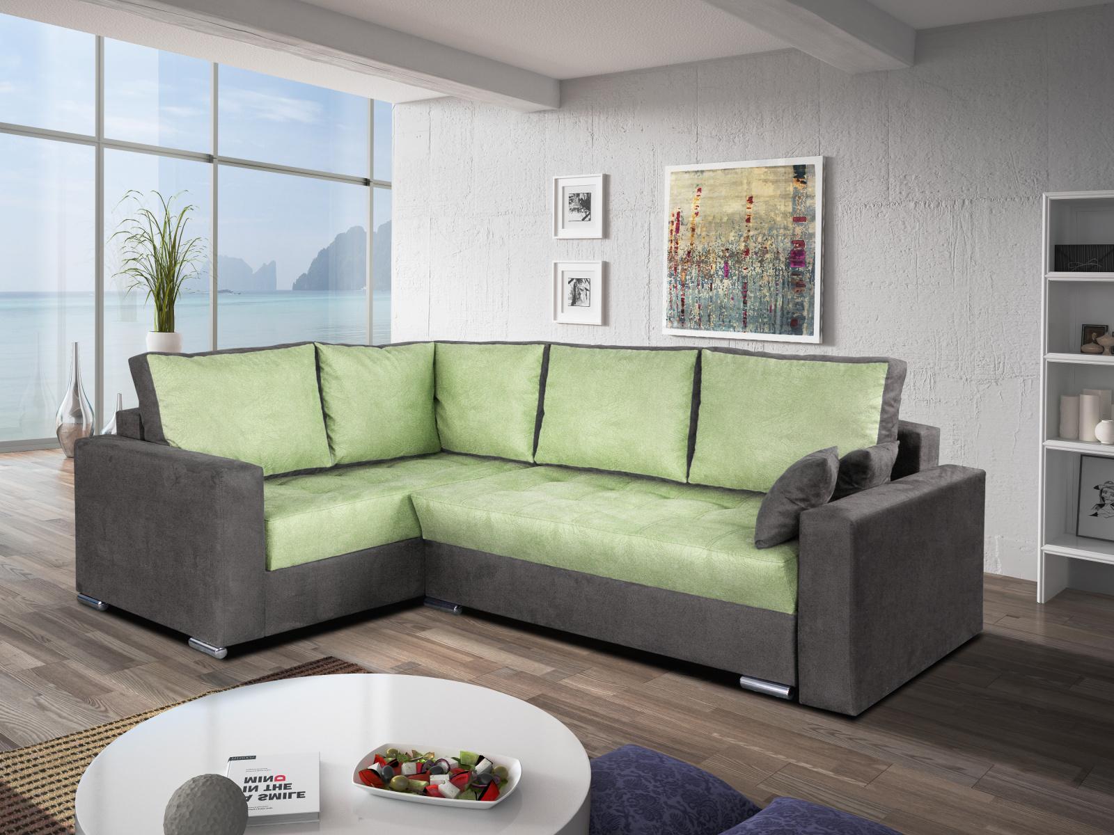 Smartshop Rohová sedačka VALERIO BIS 3 levá, zelená látka/šedá látka