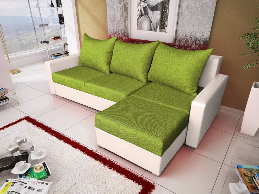 Smartshop Rohová sedačka MALAGA BIS 9, zelená látka/bílá ekokůže