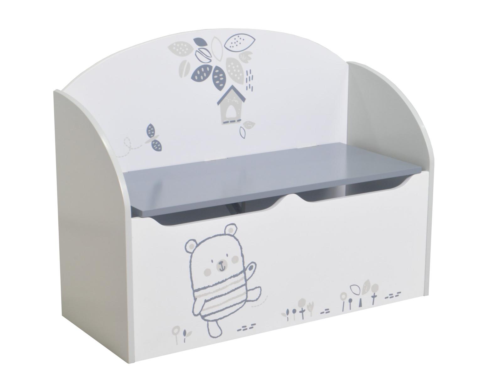 BEAR box na hračky, bílá s obrázky/šedá box na hračky, bílá s obrázky/šedá