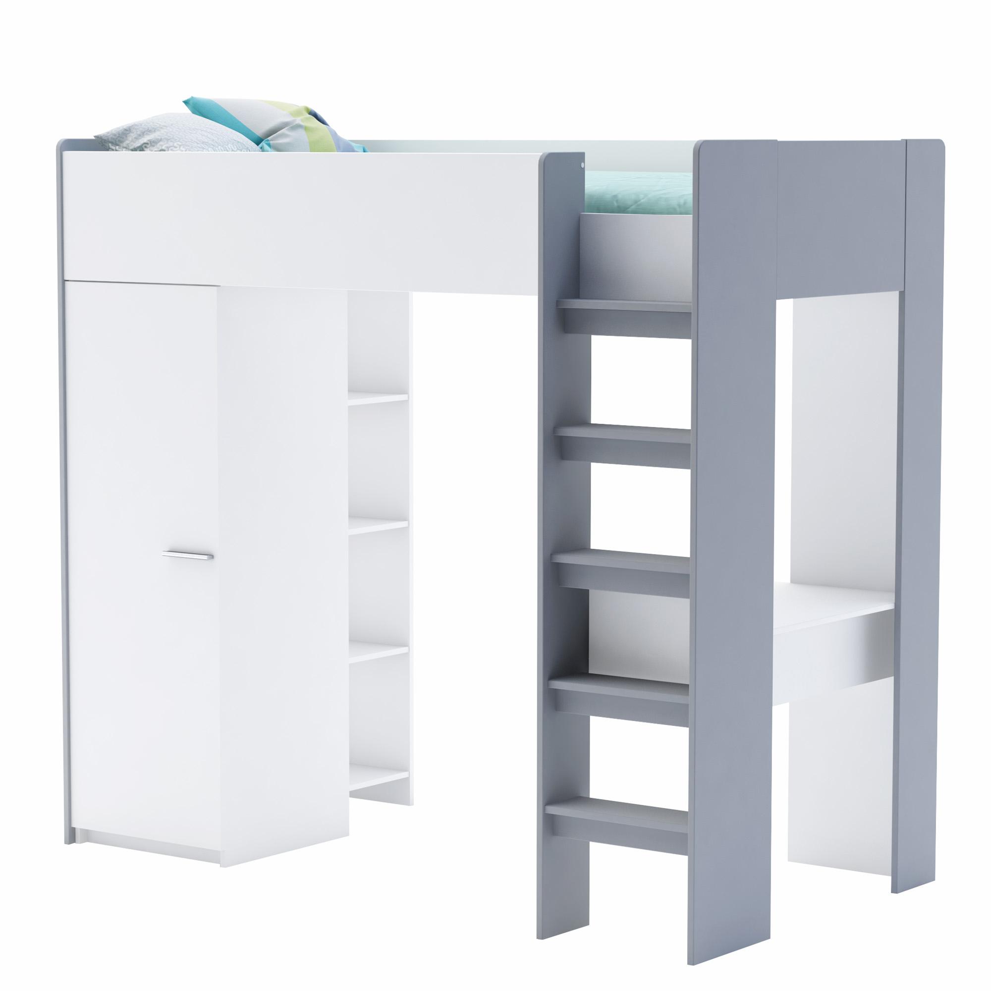 DEMEYERE FALOU patrová postel se skříní 90x200, bílá/šedá