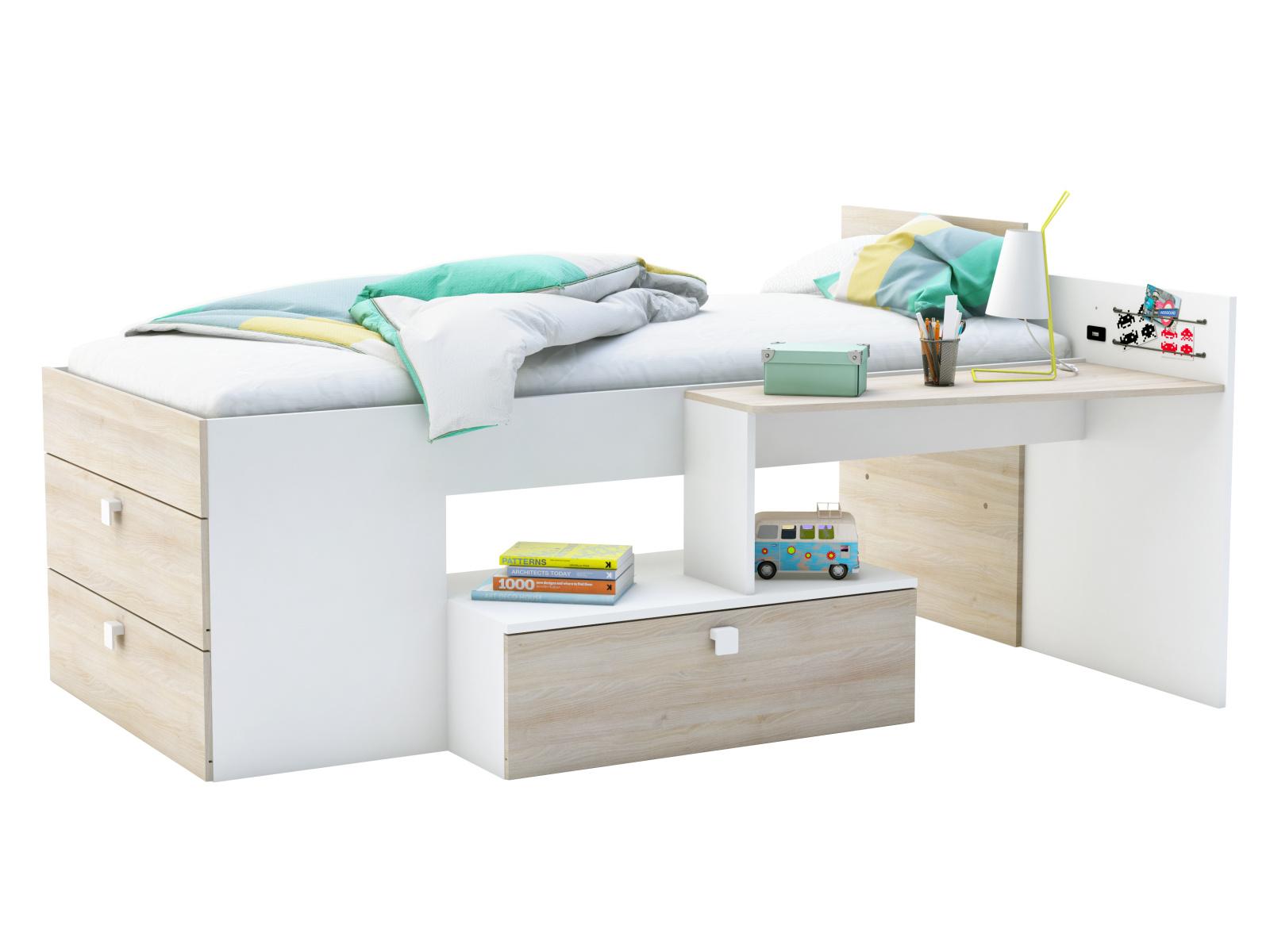 DEMEYERE MOWE postel 90x190 cm, bílá/akát