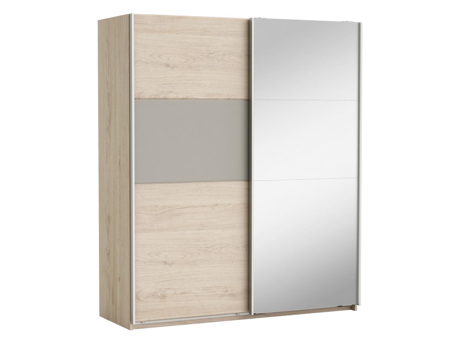 DEMEYERE GIORGIA šatní skříň se zrcadlem 2S, dub arizona/jíl