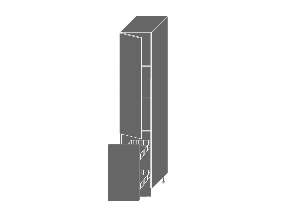 Extom PLATINUM, skříňka potravinová 2D14k 40 + cargo, korpus: bílý, barva: black stripes