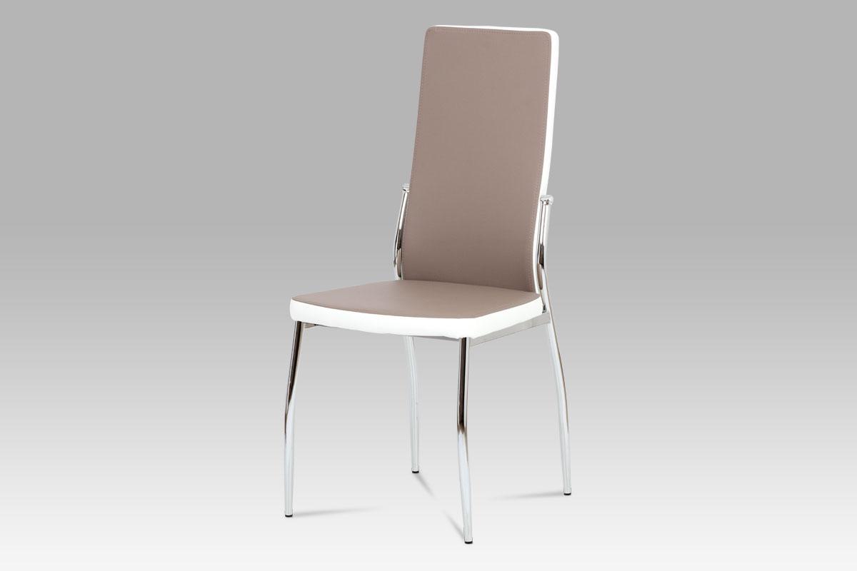 Autronic Jídelní židle AC-1693 LAN, koženka lanýž/bílá