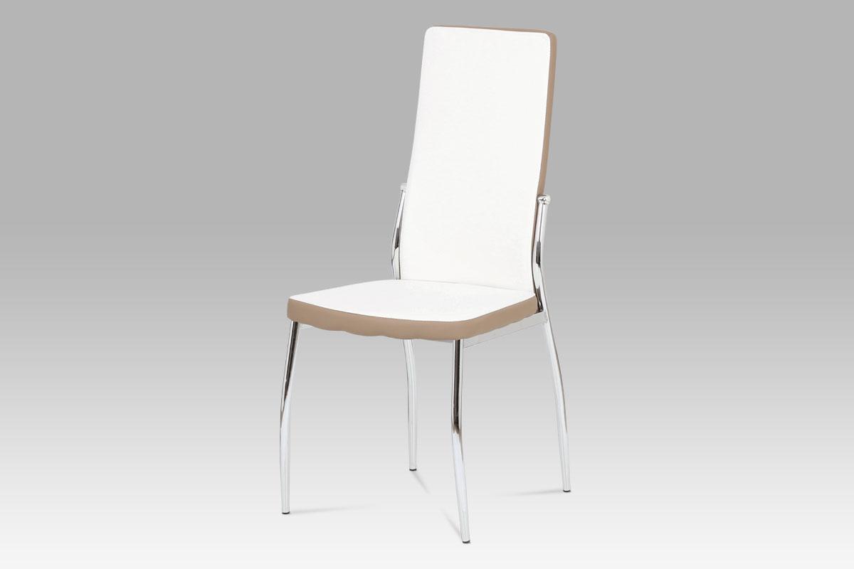 Autronic Jídelní židle AC-1693 WT, koženka bílá/cappucino