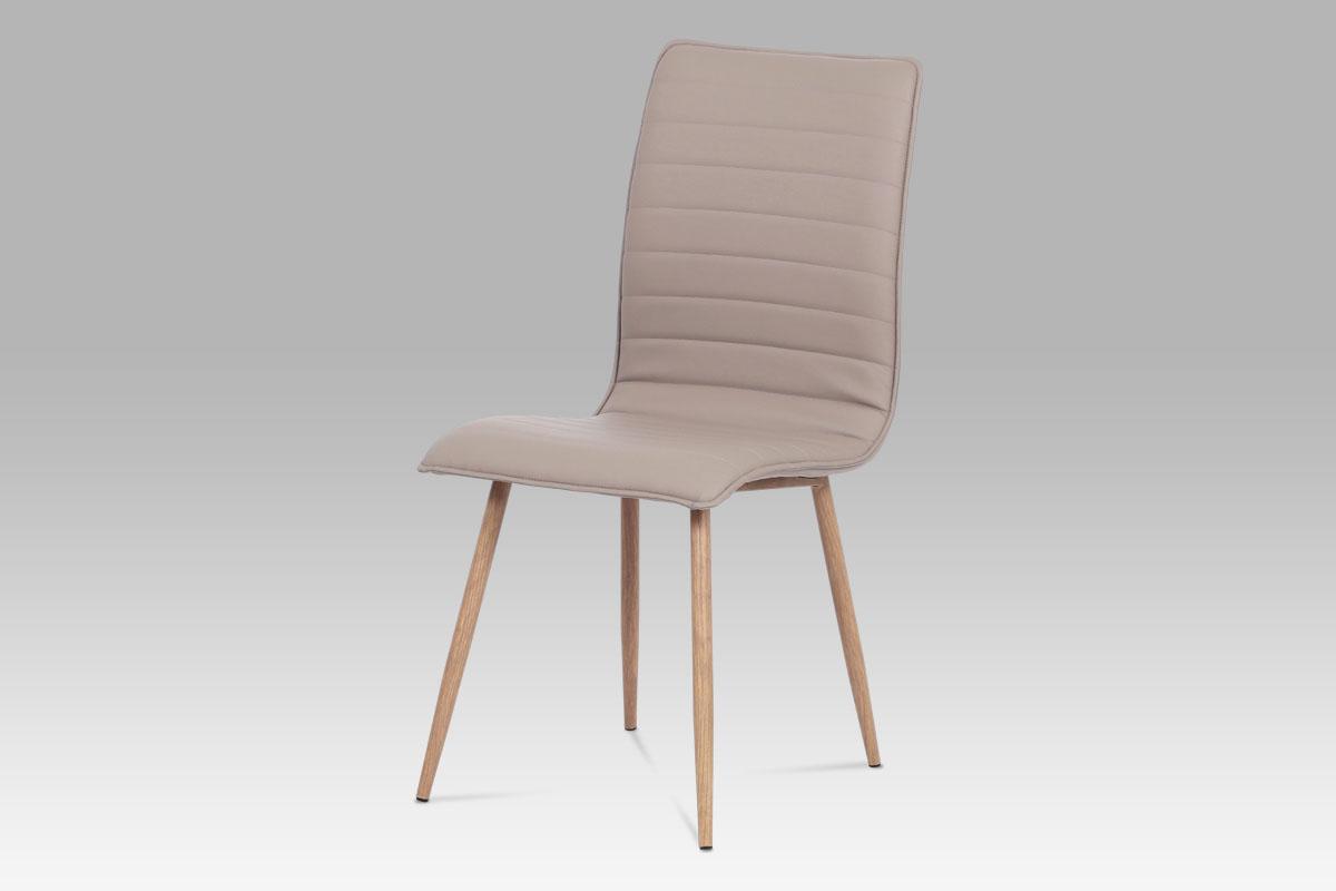 Autronic Jídelní židle HC-368 LAN, lanýžová koženka/kov (dekor dub)