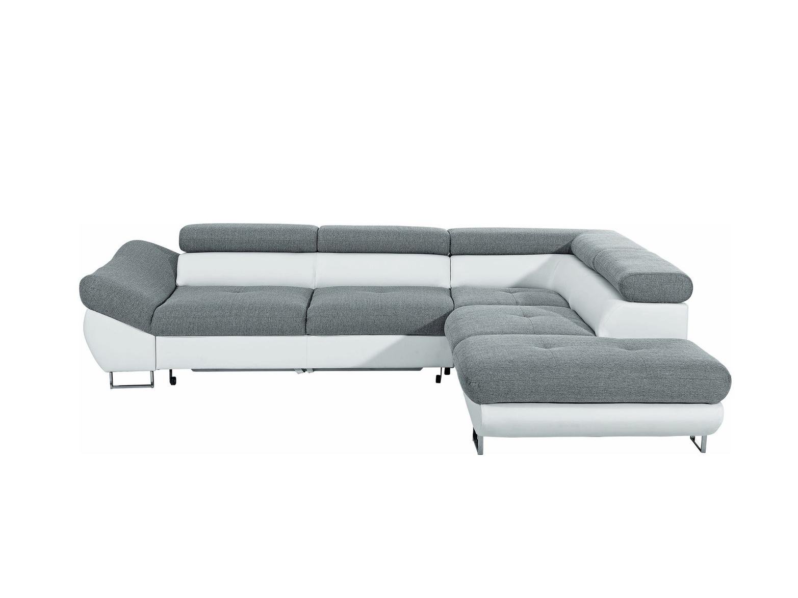 Smartshop Rohová sedačka FABIO, šedá látka/bílá ekokůže