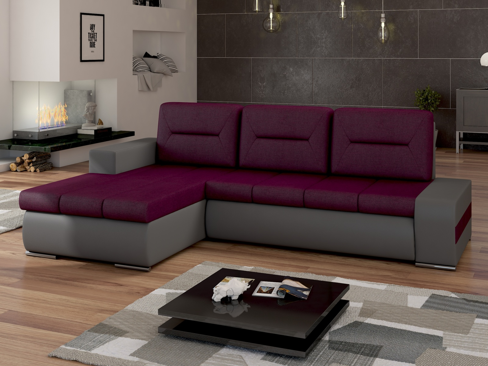 ELTAP Rohová sedačka OTTAVIO Ov06 levá, fialová látka/šedá ekokůže