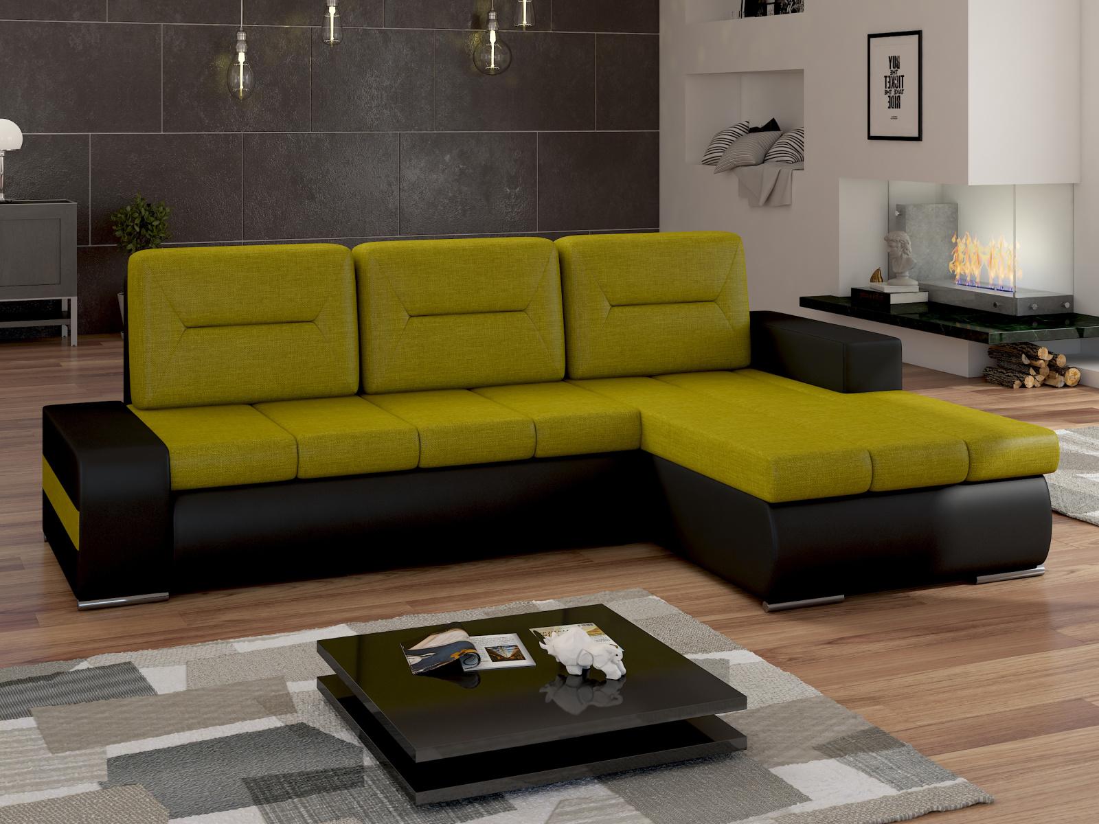 ELTAP Rohová sedačka OTTAVIO Ov16 pravá, zelená látka/černá ekokůže