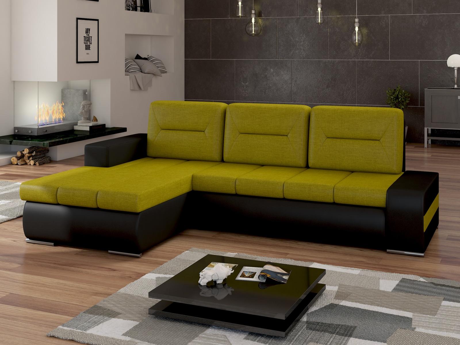 ELTAP Rohová sedačka OTTAVIO Ov04 levá, zelená látka/černá ekokůže