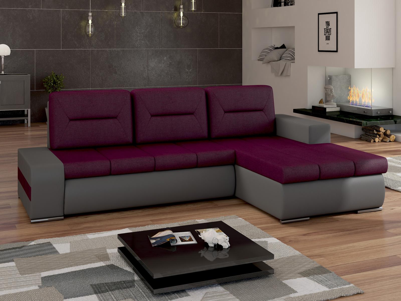 ELTAP Rohová sedačka OTTAVIO Ov18 pravá, fialová látka/šedá ekokůže