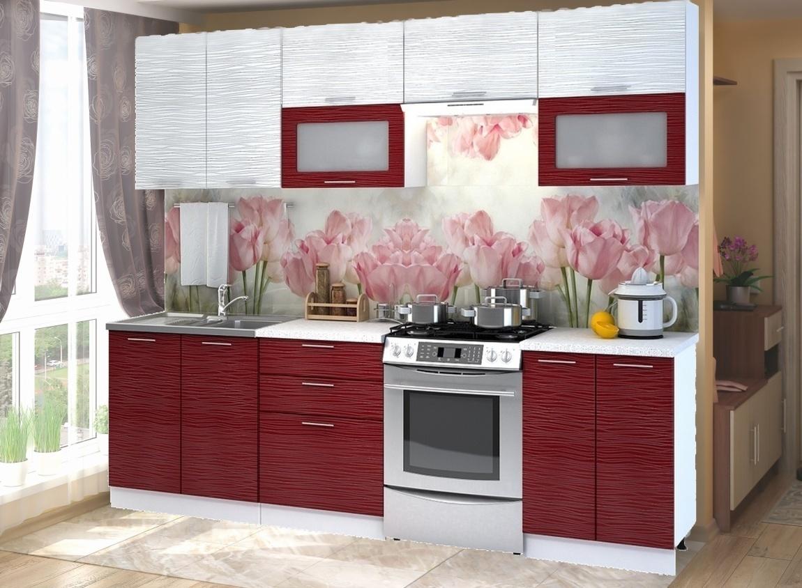 Kuchyně VALERIA 200/260 cm červený + bílý lesk
