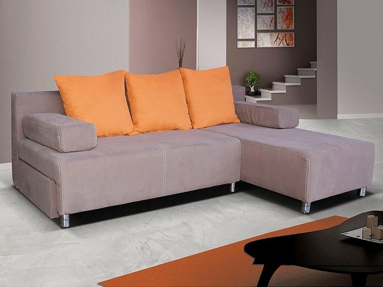 Smartshop Rohová sedačka PORTOS 1, světle hnědá látka/oranžová látka