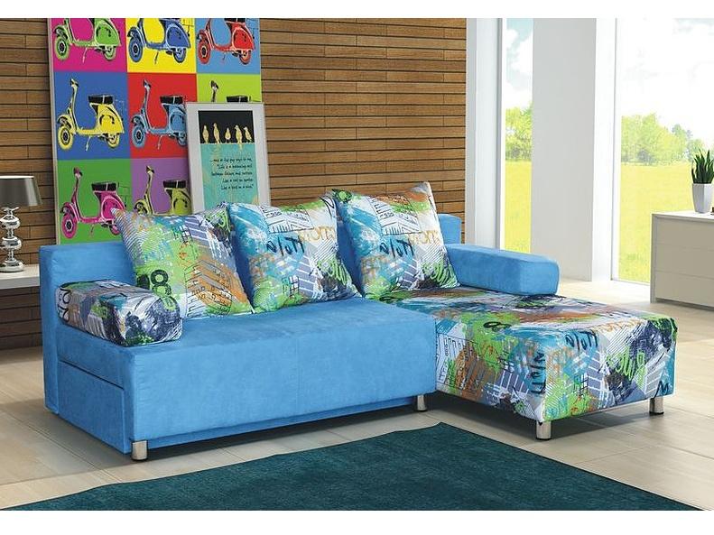 Smartshop Rohová sedačka PORTOS 3, modrá látka/vzor