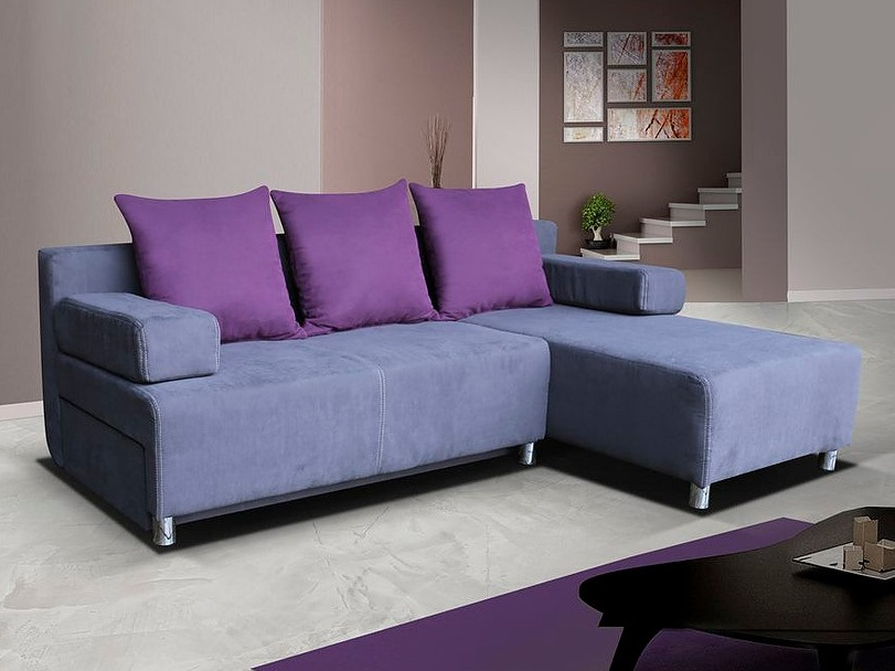 Smartshop Rohová sedačka PORTOS 2, šedá látka/fialová látka