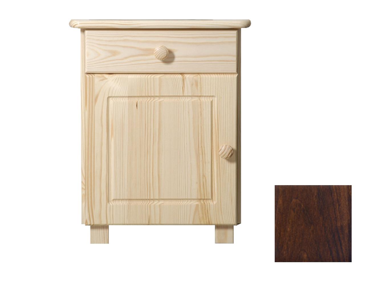 MAGNAT Noční stolek MEGA, masiv borovice, moření: ořech