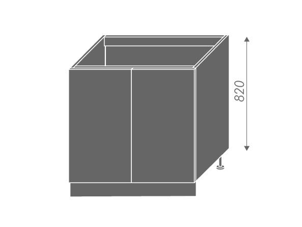Extom PLATINUM, skříňka dolní dřezová D8z 80, korpus: bílý, barva: heban