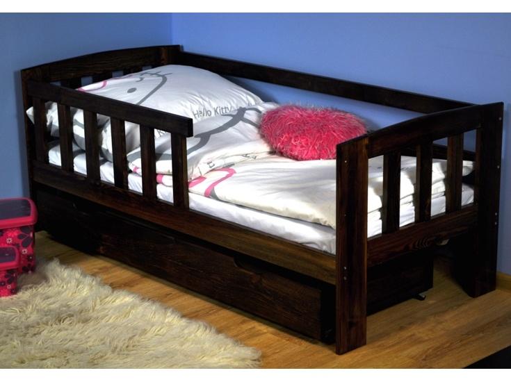MAGNAT Dětská postel ALA 70x160 cm s roštem, masiv borovice/moření ořech