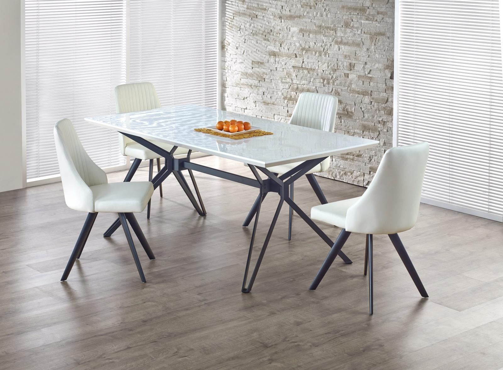 Jídelní stůl rozkládací PASCAL,160/200x90 cm, bílá/černá