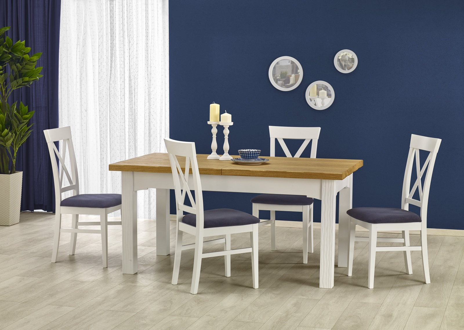 Halmar Jídelní stůl rozkládací LEONARDO 160/250x90 cm, bílý/dub medový