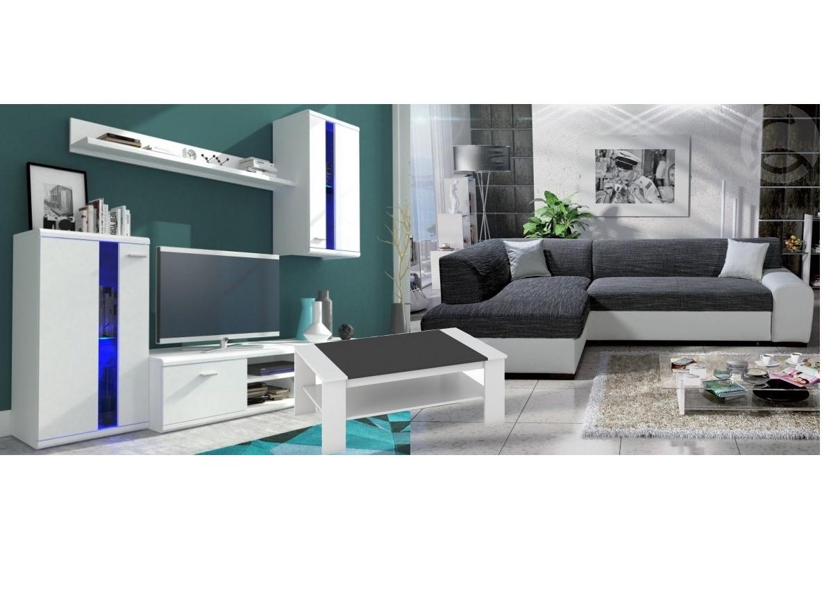 Smartshop Set obývací stěna LITE + rozkládací sedačka MINOS levá + konferenční stolek BERN