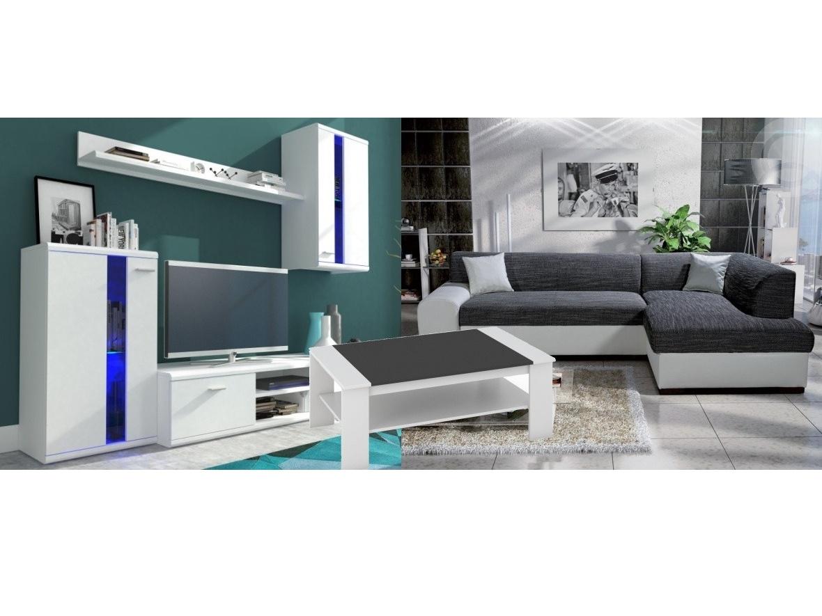 Smartshop Set obývací stěna LITE + rozkládací sedačka MINOS pravá+ konferenční stolek BERN