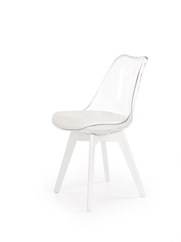 Halmar Jídelní židle K245, průhledná/bílá