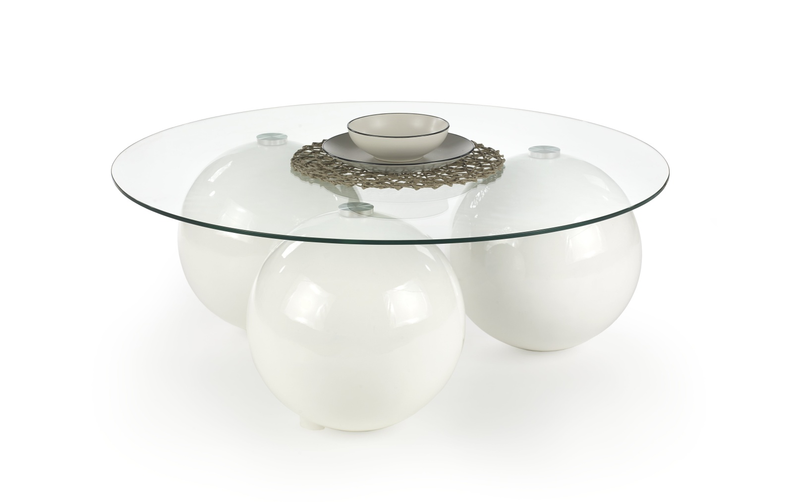 Halmar Konferenční stolek BELLA, bílý lesk/čiré sklo
