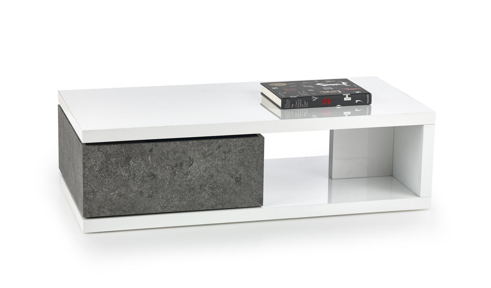 Konferenční stolek IMPALA, bílý lesk/šedá