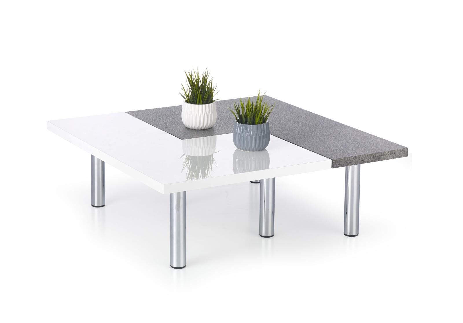 Smartshop Konferenční stolek ITAKA, bílý lesk/ šedá