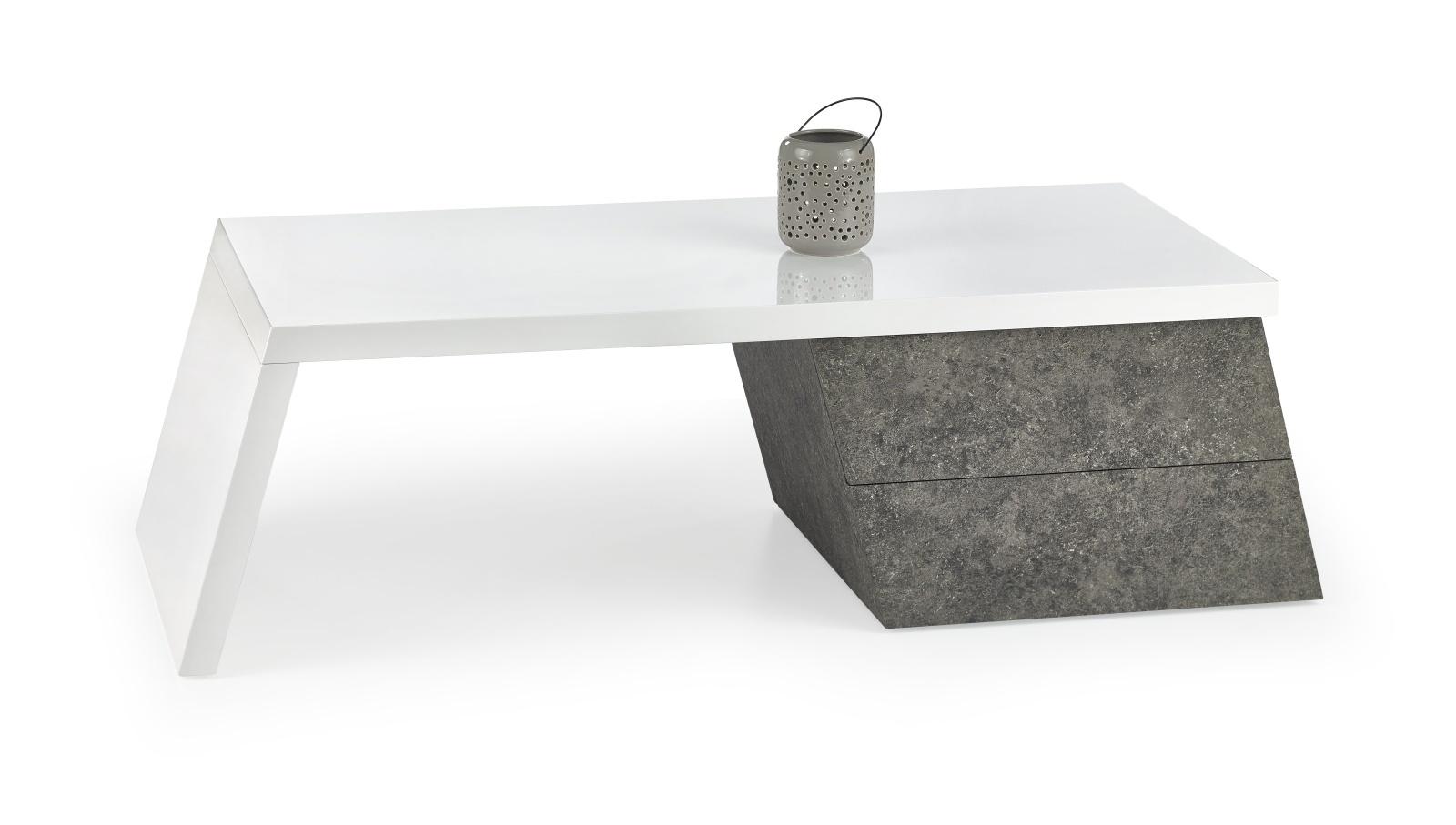 Smartshop Konferenční stolek SEDIA, bílý lesk/šedá
