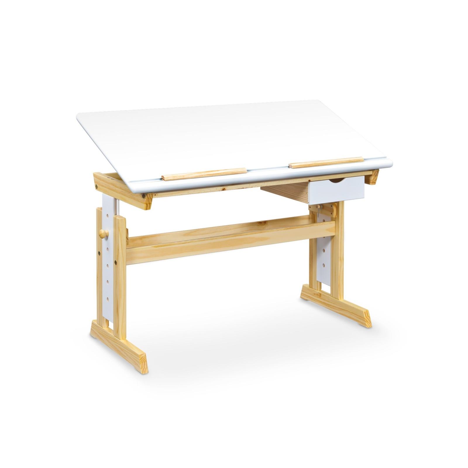 Halmar Rostoucí psací stůl ANAS, bílý/borovice