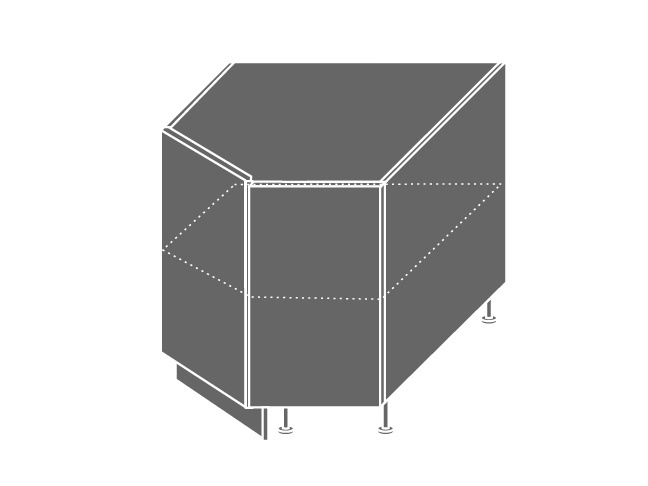Extom QUANTUM, skříňka dolní rohová D12R 90, vanilla mat/lava