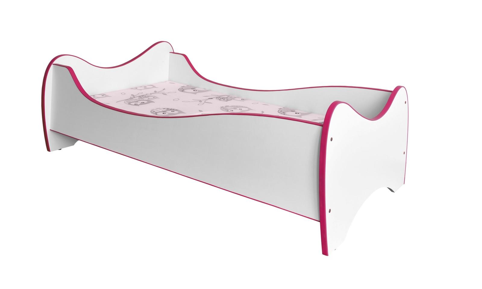 Dětská postel DUO, bílá/růžová