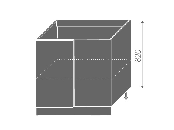 QUANTUM, skříňka dolní rohová D13 U, beige mat/bílá
