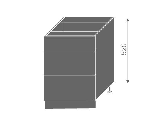 Extom QUANTUM, skříňka dolní D3E 60, vanilla mat/bílá