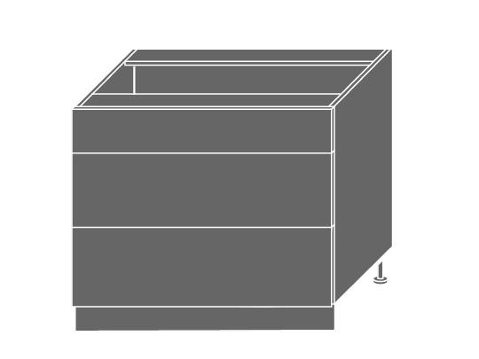 Extom QUANTUM, skříňka dolní D3M 90, vanilla mat/bílá