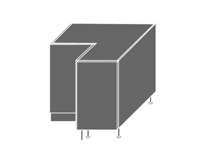 QUANTUM, skříňka dolní rohová D12 90, vanilla mat/bílá