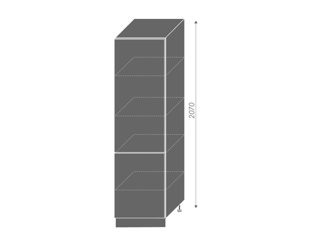 QUANTUM, potravinová skříň D14DP, white mat/bílá