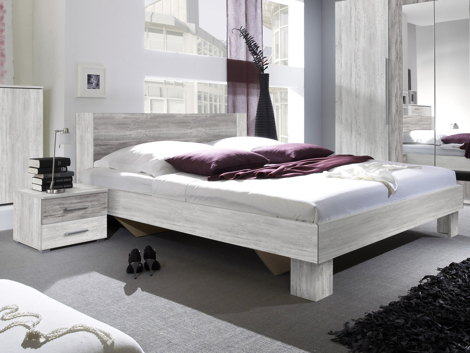 WILDER postel 180x200 cm s nočními stolky, borovice canyon světlá/borovice canyon tmavá