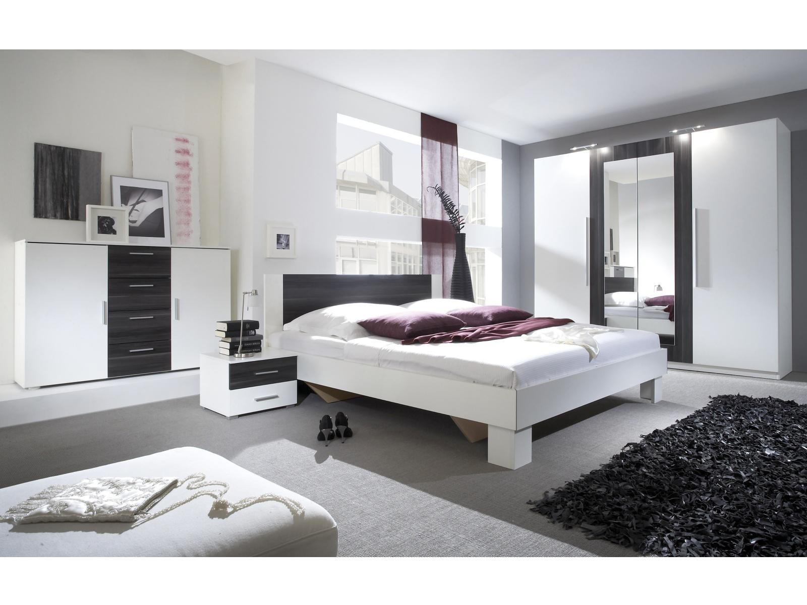 WILDER postel 180x200 cm s nočními stolky, bílá/ořech černý