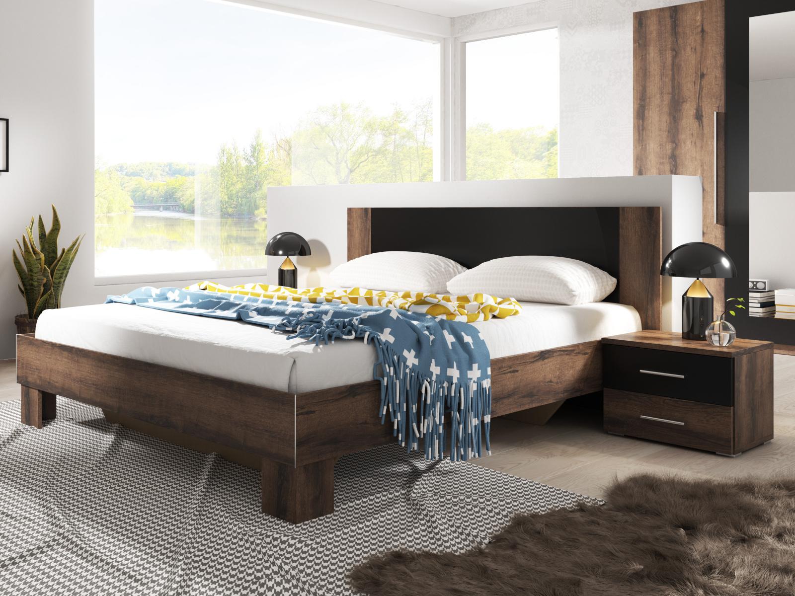 WILDER postel 180x200 cm s nočními stolky, dub monastery/černá