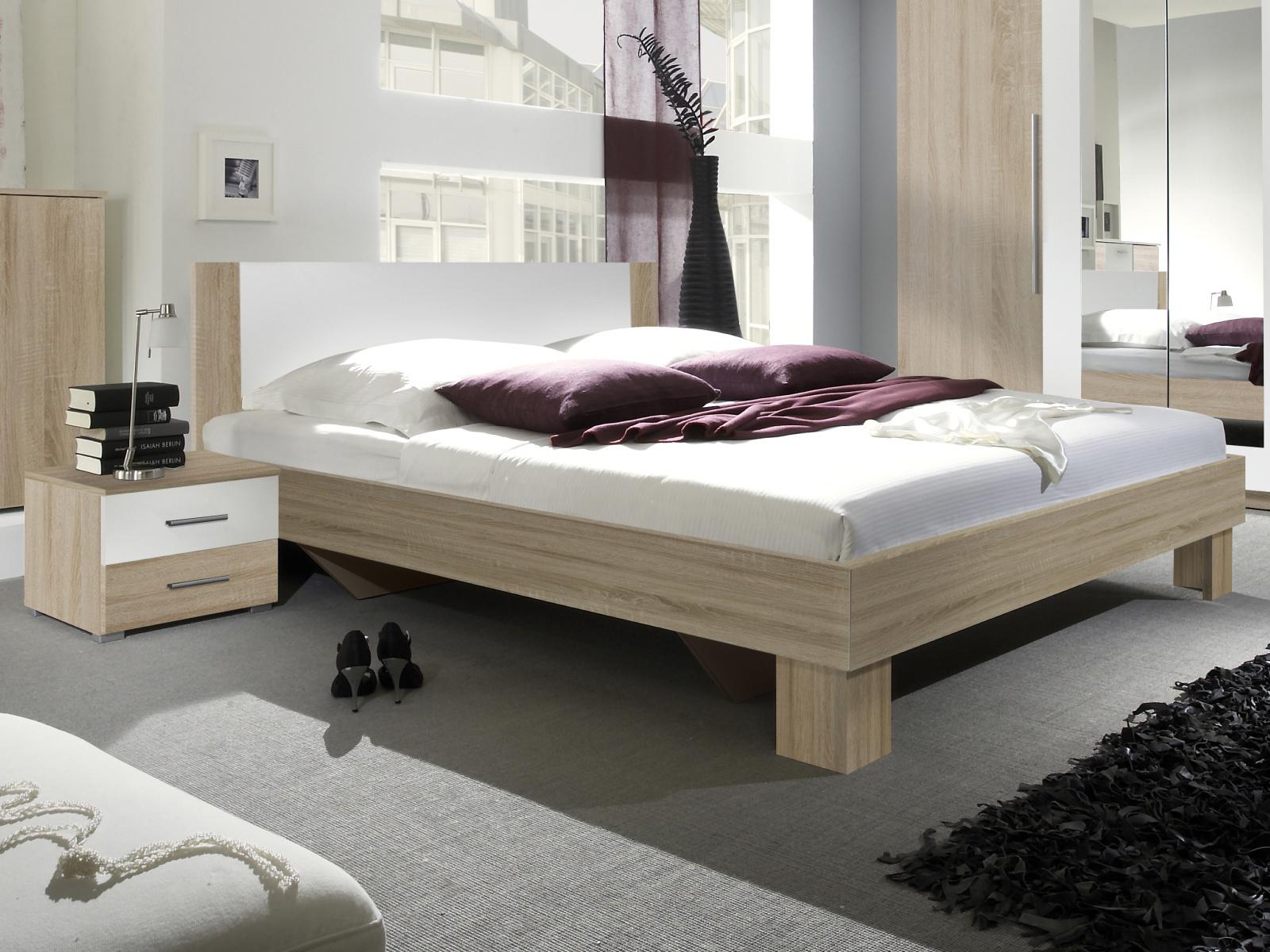 WILDER postel 180x200 cm s nočními stolky, dub sonoma/bílá