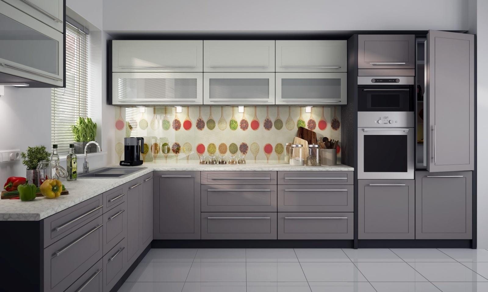 Extom Rohová kuchyně QUANTUM, vzorová sestava, beige mat+vanilla mat/lava