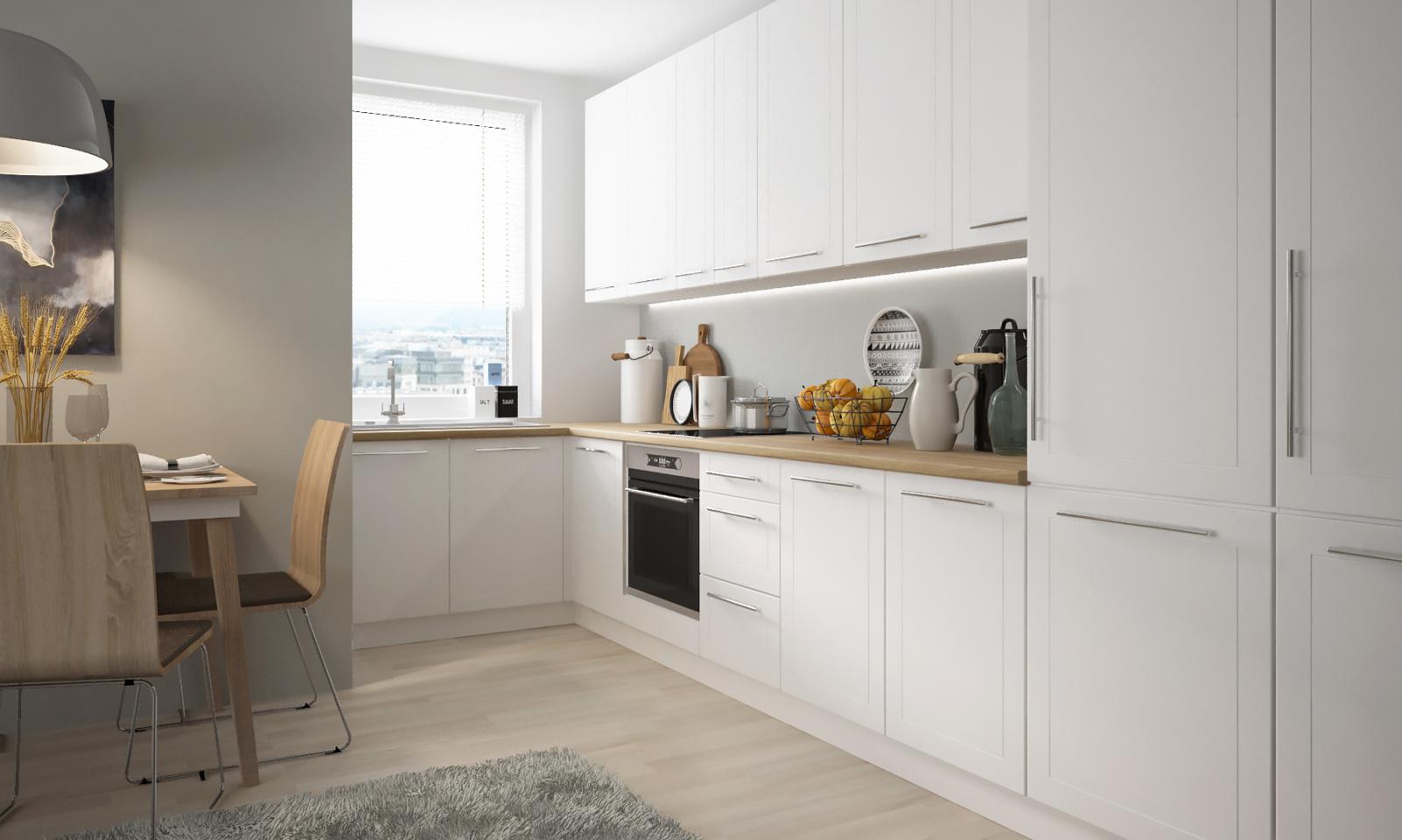 Extom Rohová kuchyně QUANTUM, vzorová sestava, white mat/bílá