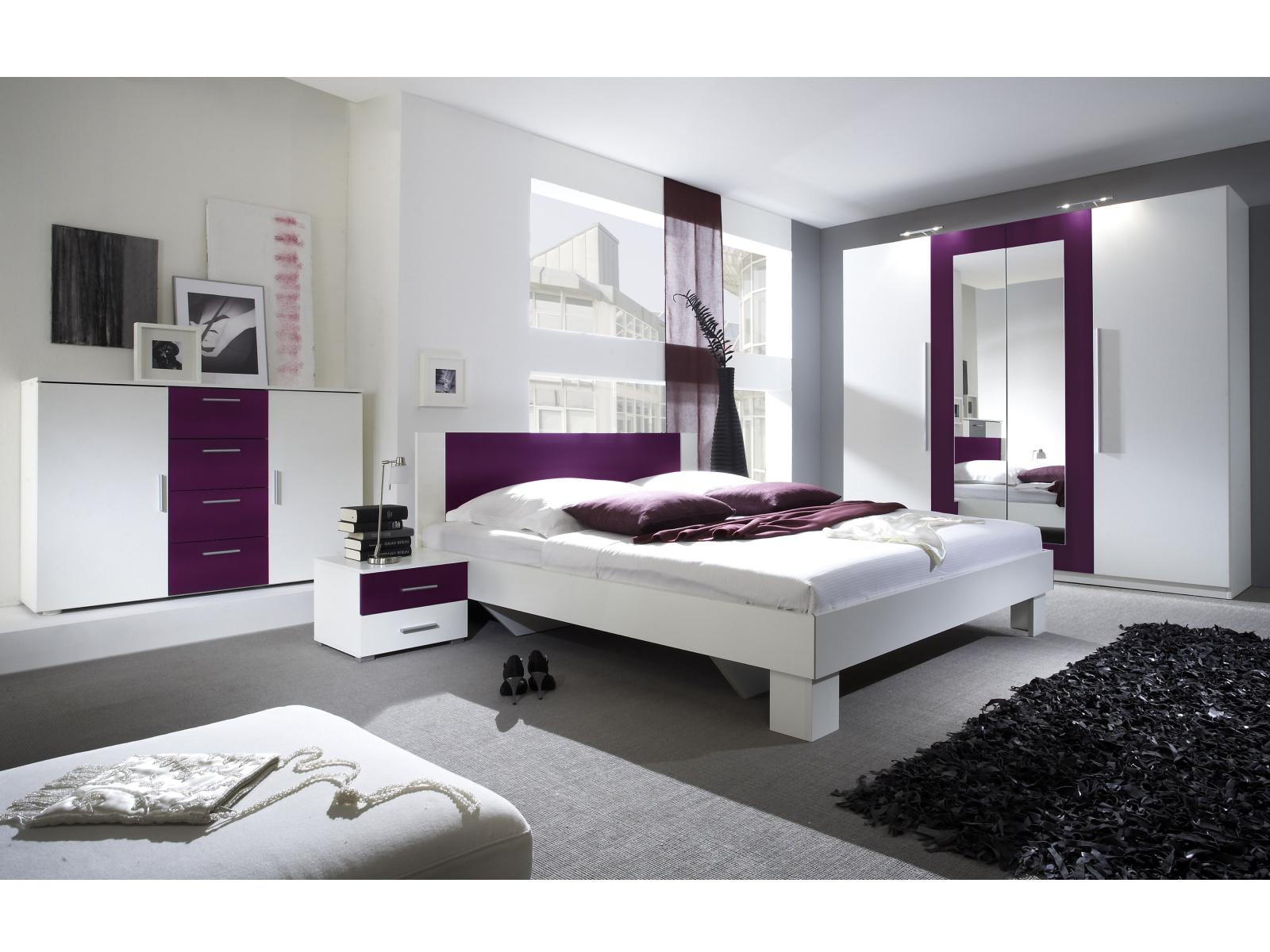 Smartshop VERA ložnice s postelí 180x200, bílá/fialová