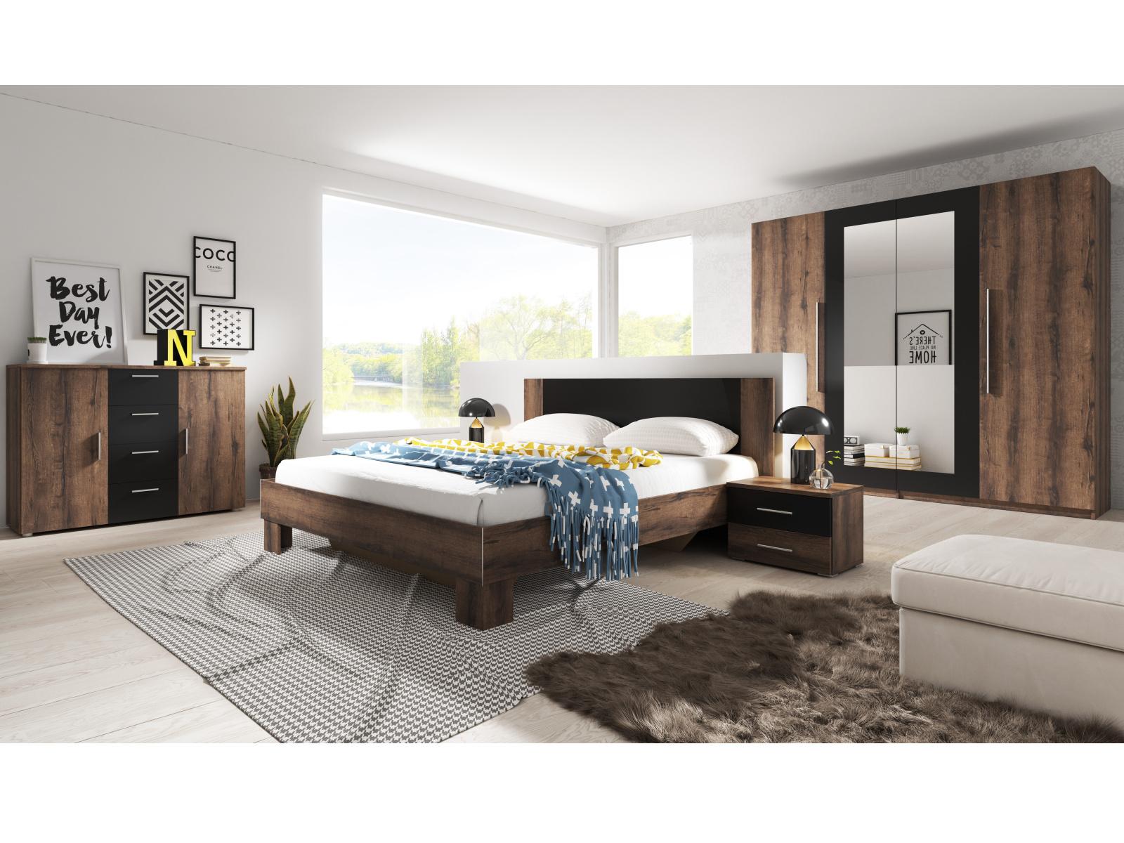 WILDER ložnice s postelí 180x200 cm, dub monastery/černá