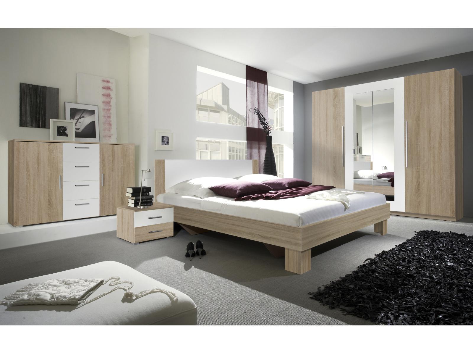 WILDER ložnice s postelí 180x200 cm, dub sonoma/bílá