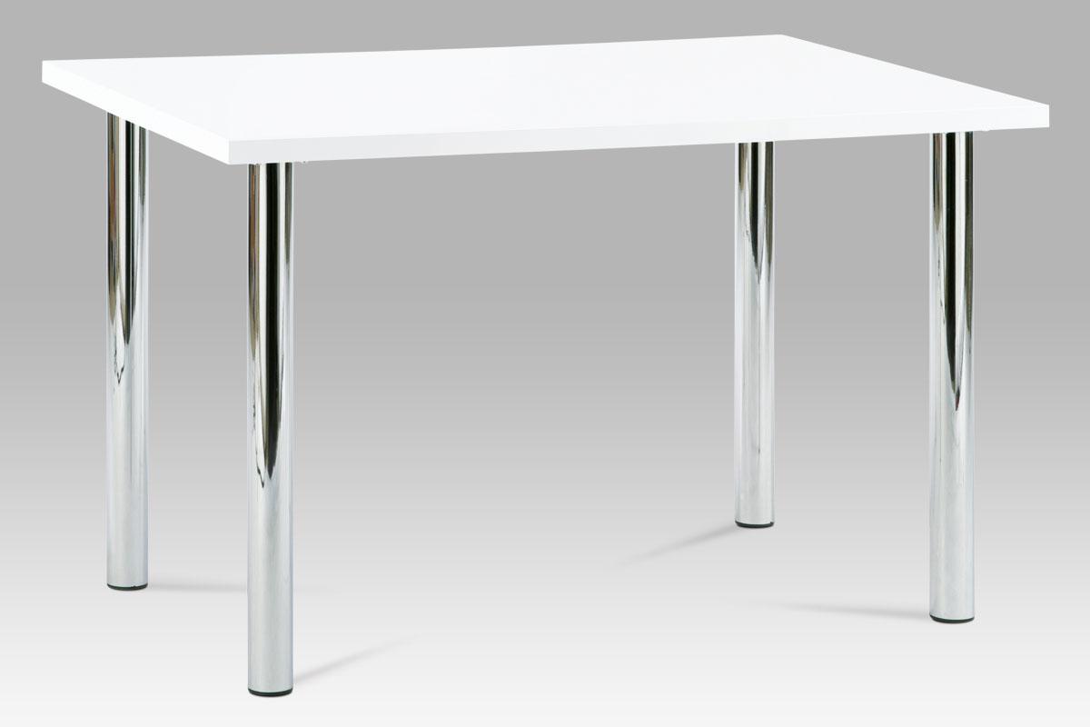 Smartshop Jídelní stůl SAT-1914B WT 120x75 cm, chrom / vysoký lesk bílý