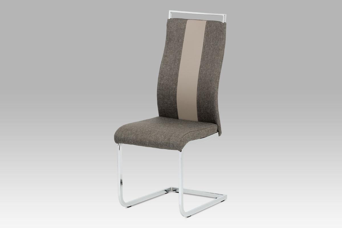 Autronic Jídelní židle DCL-449 LAN2, lanýžová látka + koženka / chrom